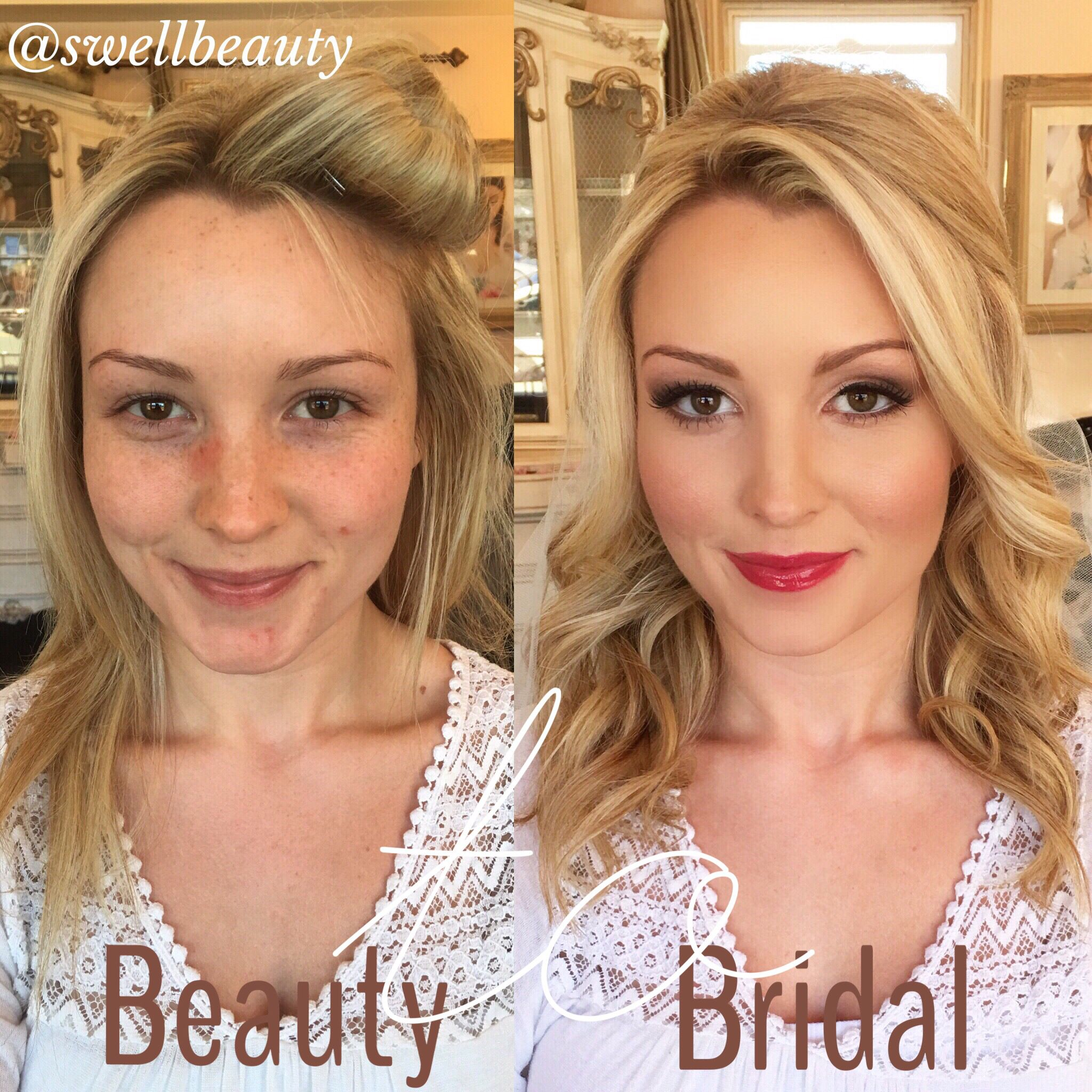 before & after -bridal trial - hair + makeup by dee + asst phaithe