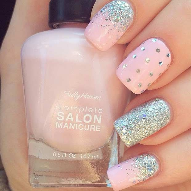 35 Bright Summer Nail Designs - 35 Bright Summer Nail Designs Silver Glitter Nails, Glitter