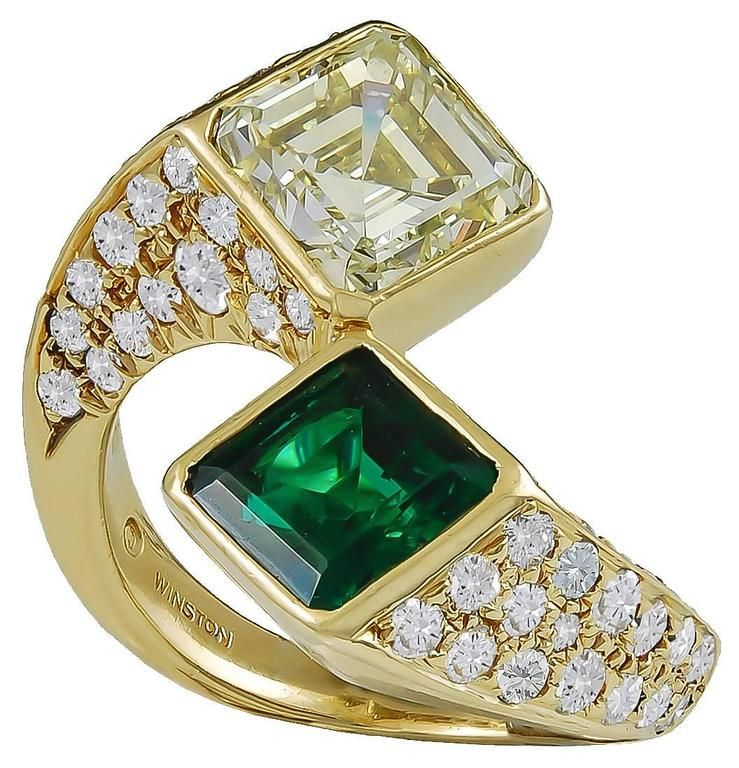 harry winston emerald yellow diamond gold toi et moi ring from a uniqueu2026