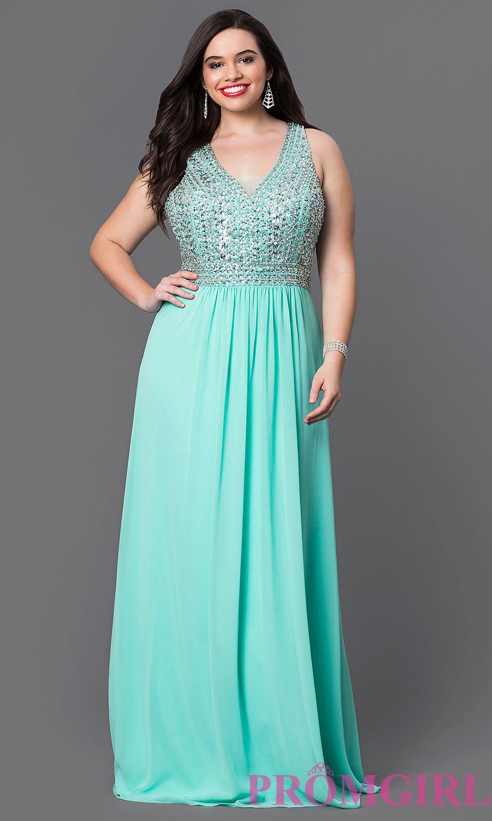Faviana v-neck long chiffon plus size prom dress with a beaded ...