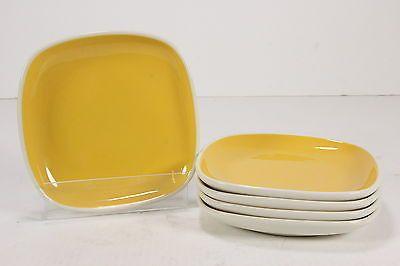 """NOS Oneida Color Burst Restaurantware China 7"""" Square Plates Lemon Drop 5 Pc"""