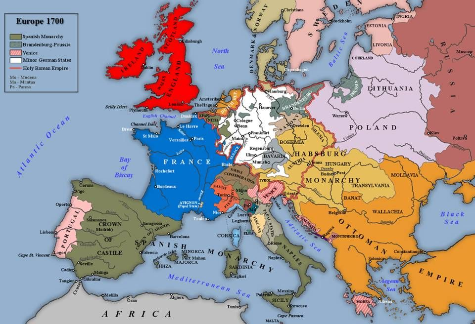 Carte de l'Europe en 1700. (Prince Eugene of Savoy) | AAA