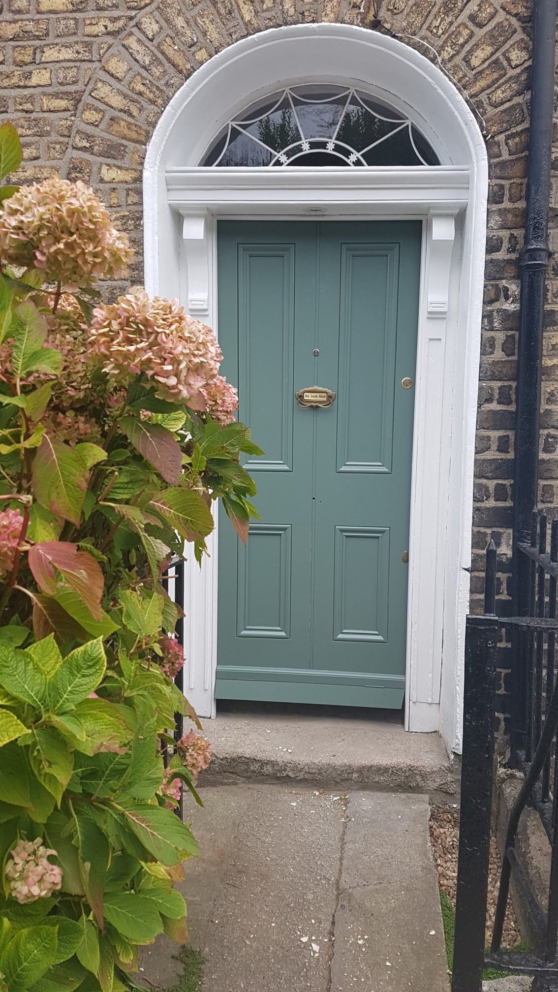 Farrow And Ball Green Smoke Exterior Eggshell Period House Door Frame All White Hydrangeas Brick Painted Front Doors Green Front Doors Front Door Styles