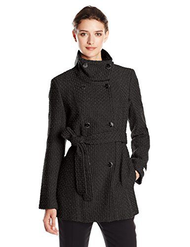Calvin Klein Women's Double Breasted Wool Coat with Belt-$169.00