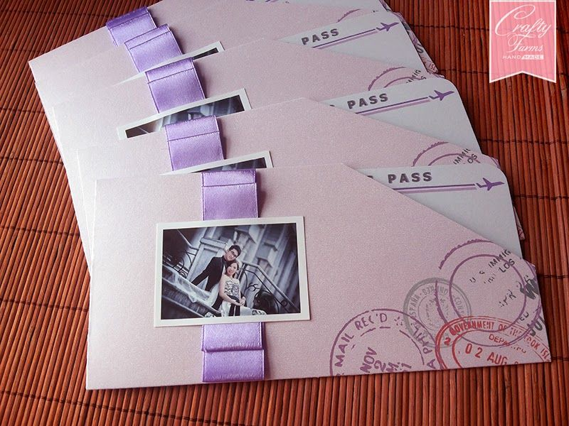 Pastel Purple Boarding Pass Wedding Invitation Card with Wedding ...