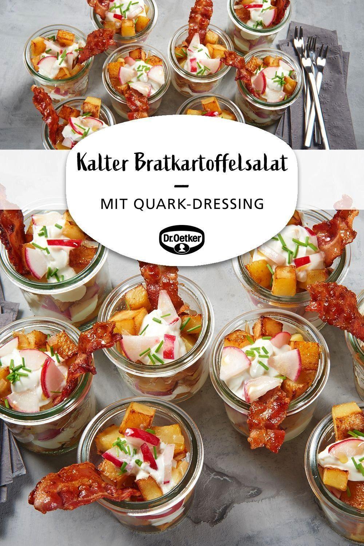 Bratkartoffelsalat Kalter Bratkartoffelsalat: Gebratene Kartoffelwürfel mit Quark-Dressing und Bac