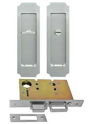 Premium Privacy Pocket Door Mortise Lock Set With Chamfered Corner