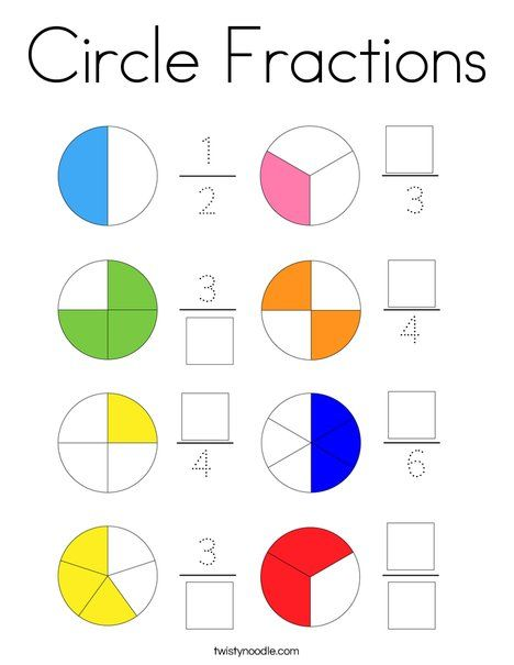 Circle Fractions Coloring Page - Twisty Noodle in 2020 ...
