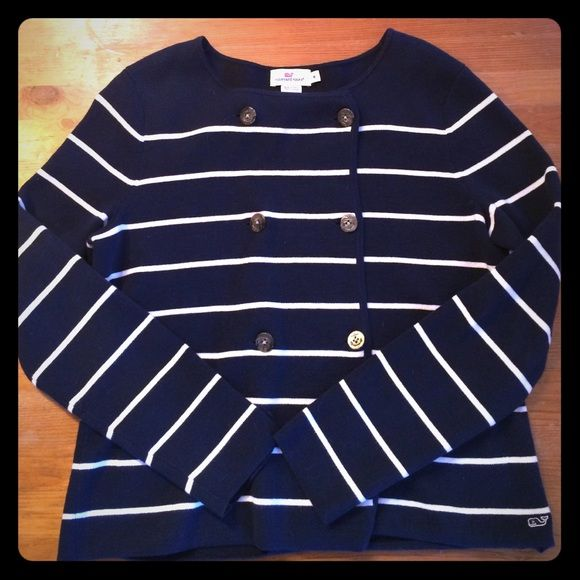 Vineyard Vines Dockside Nautical Sweater Navy blue and white striped with anchor buttons and front pockets. Barely worn. Vineyard Vines Sweaters Cardigans