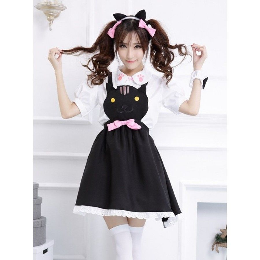 Super kawaii Neko Atsume maid outfit in black. Includes Shirt DressCuff Ears (headband) 2 ...