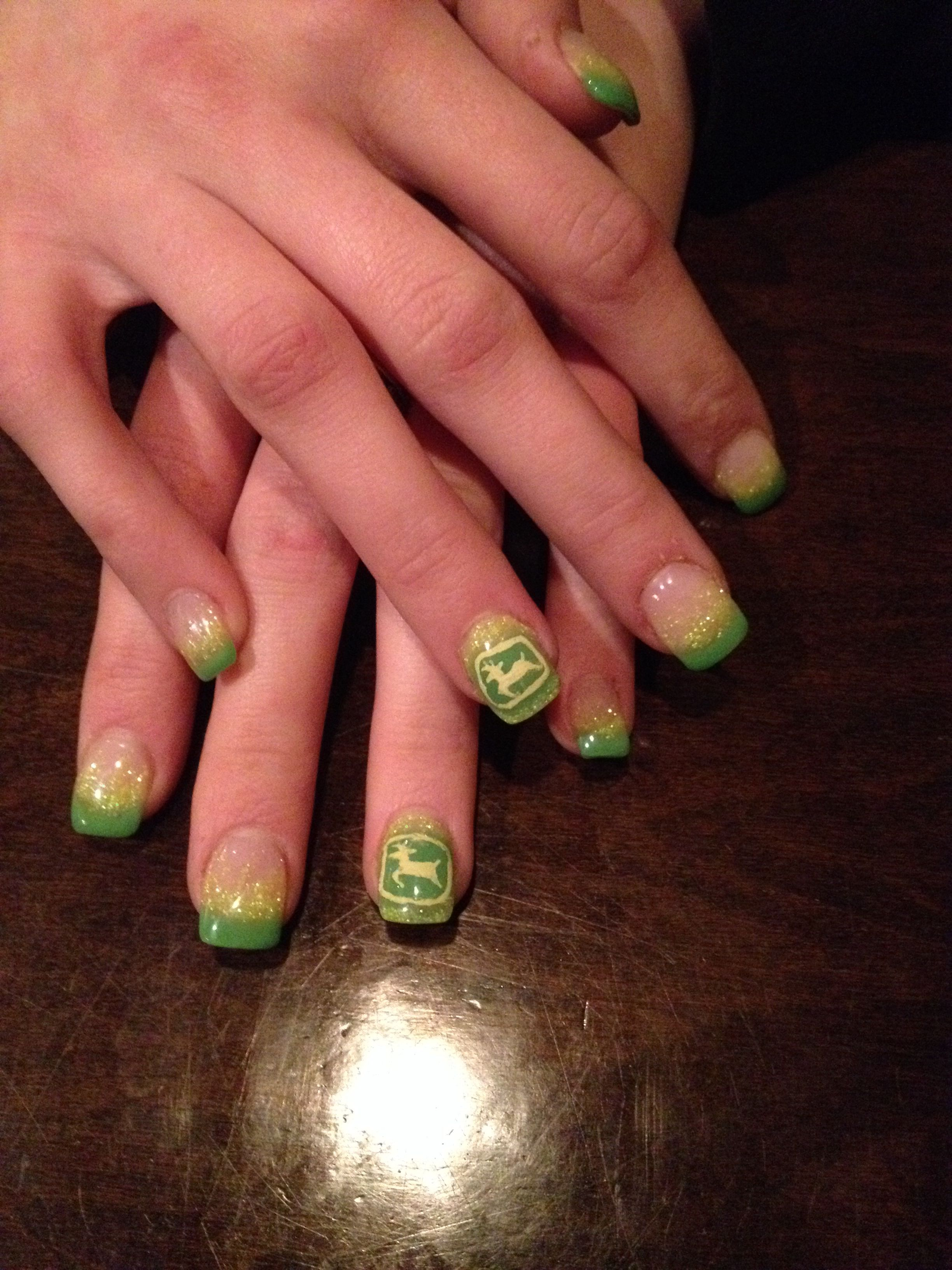 John Deere inspired Gel Nails!!:) | Nails | Pinterest