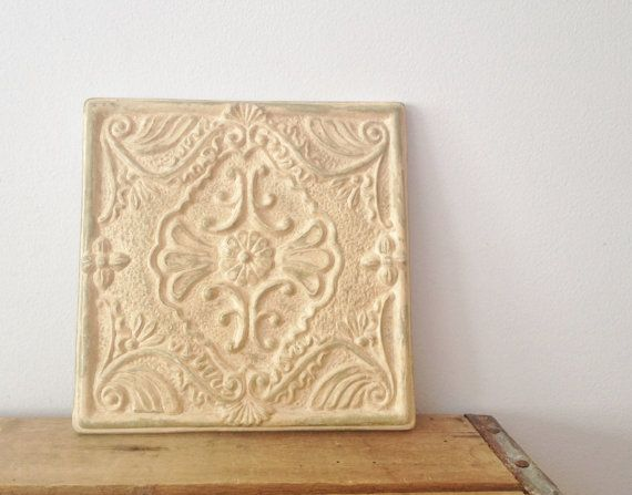 Square Decorative Wall Art - Shabby Chic Ceramic Wall Plaque ...
