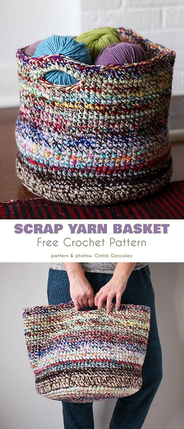 Scrap Yarn Basket Free Crochet Patterns