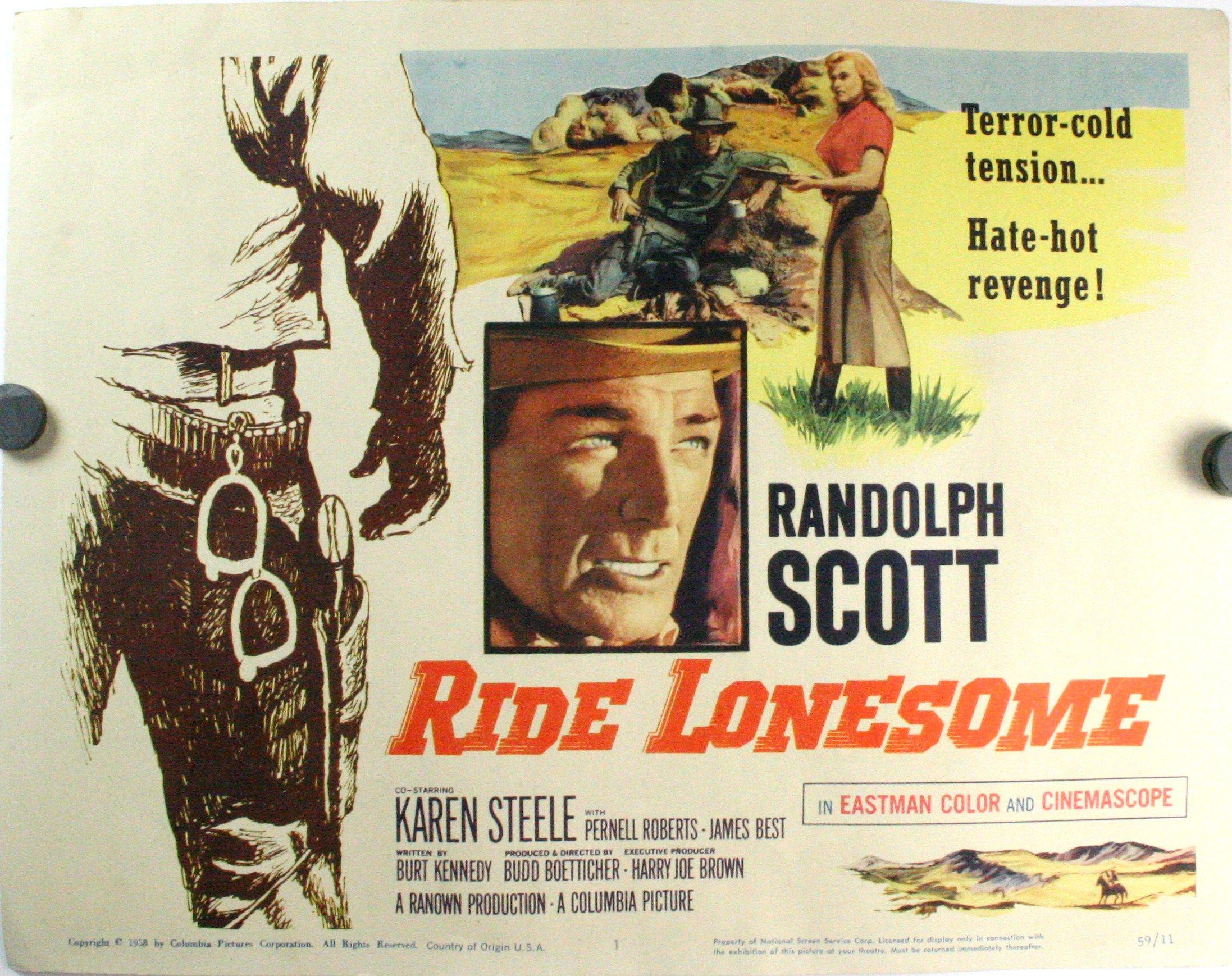 RIDE LONESOME STARRING RANDOLPH SCOTT, Set of 8 Lobby Cards ...