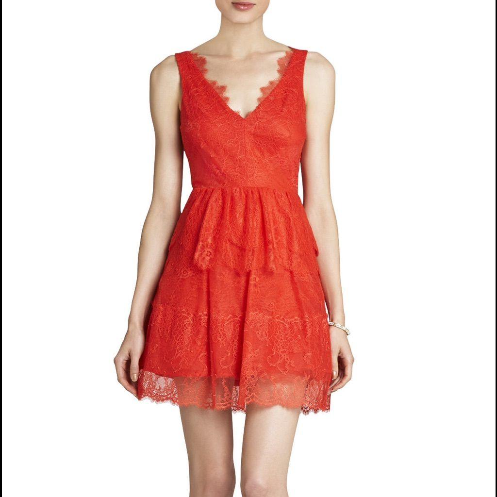 Bcbgmaxazria Willa Red Lace Dress Size S