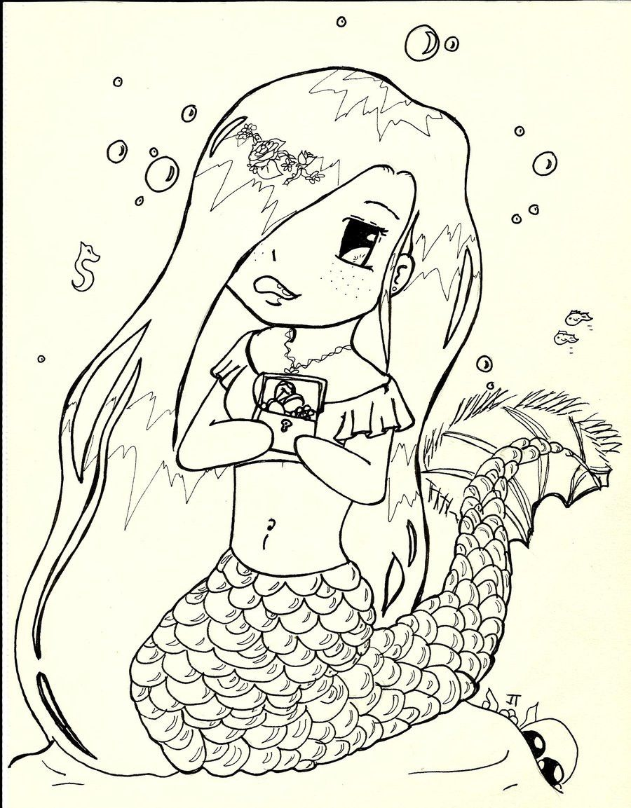 Cute Mermaid Coloring Page Youngandtae Com Mermaid Coloring Pages Chibi Coloring Pages Cute Coloring Pages