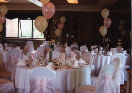 Chair Covers With Pale Pink Sashes And Balloons To Match Set Up In The Goyt Valley At Bredbury Hall Hotel