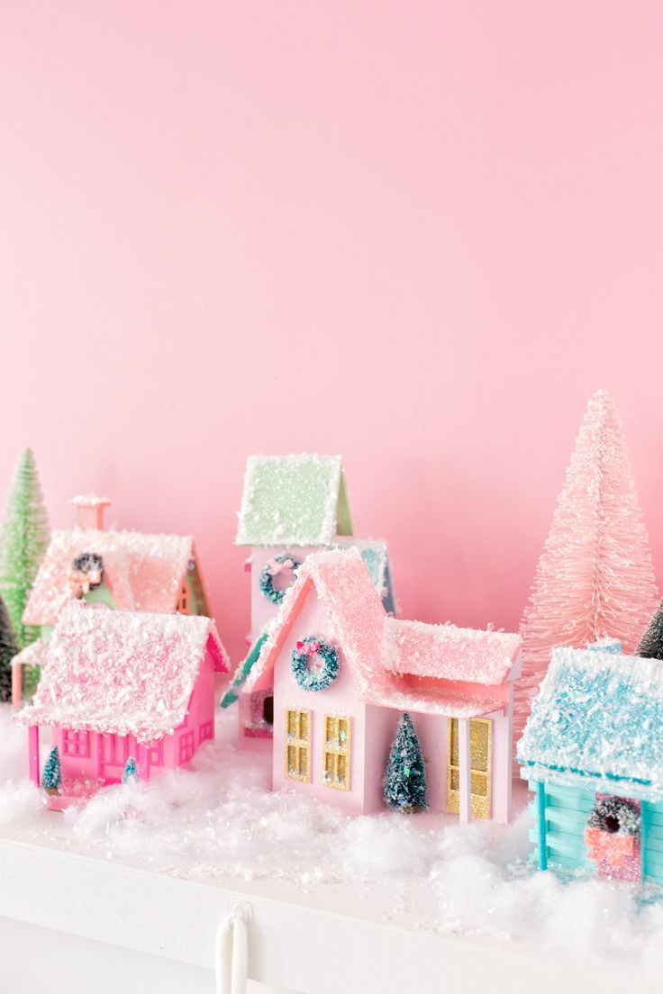 DIY Colorful Christmas Village -   19 diy christmas village ideas