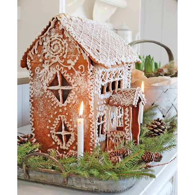 Sweet double story gingerbread house!