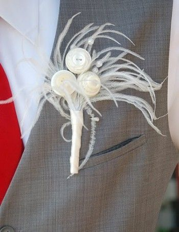 Feathers | Wedding Boutonniere Ideas  | Estate Weddings and Events