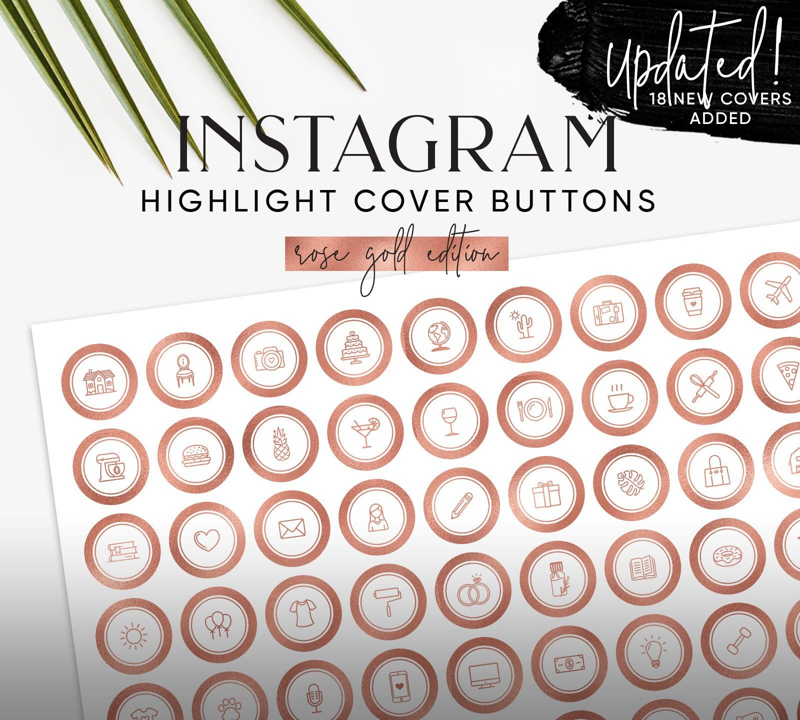 132 Rosegold Instagram Highlight Story Cover Buttons