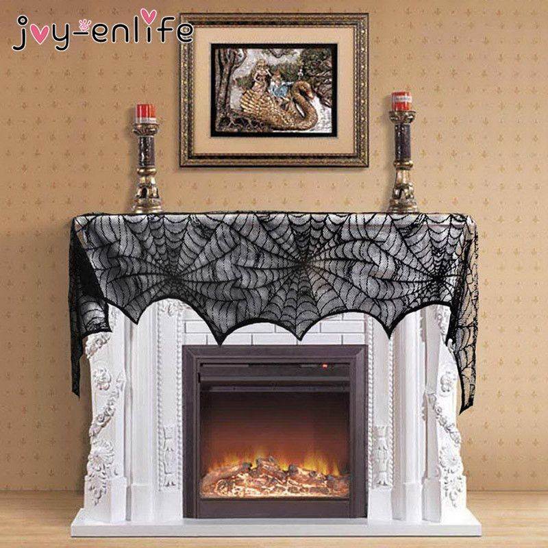 JOY-ENLIFE Black Lace Spider Web Fireplace Scarf Halloween Decor
