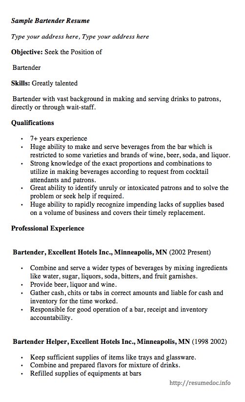 Here comes another free Sample Bartender Resume example, you can ...