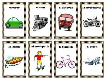 spanish transportation vocabulary cards and word wall mr elementary 39 s resources vocabulary. Black Bedroom Furniture Sets. Home Design Ideas