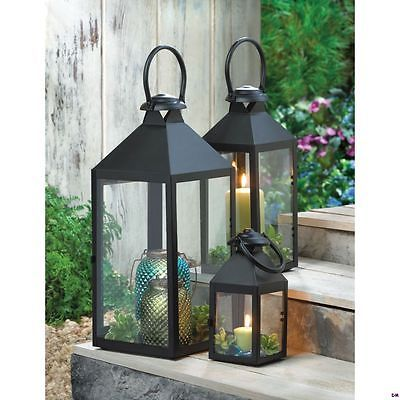 Set-of-3-Small-Medium-amp-Large-Americana-Revere-Matte-Black-Candle-Lanterns