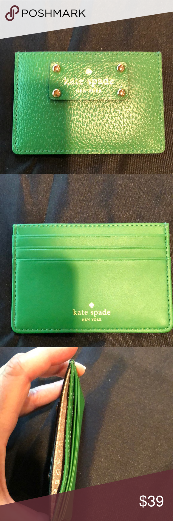 kate spade graham sprout green card case nwt with images
