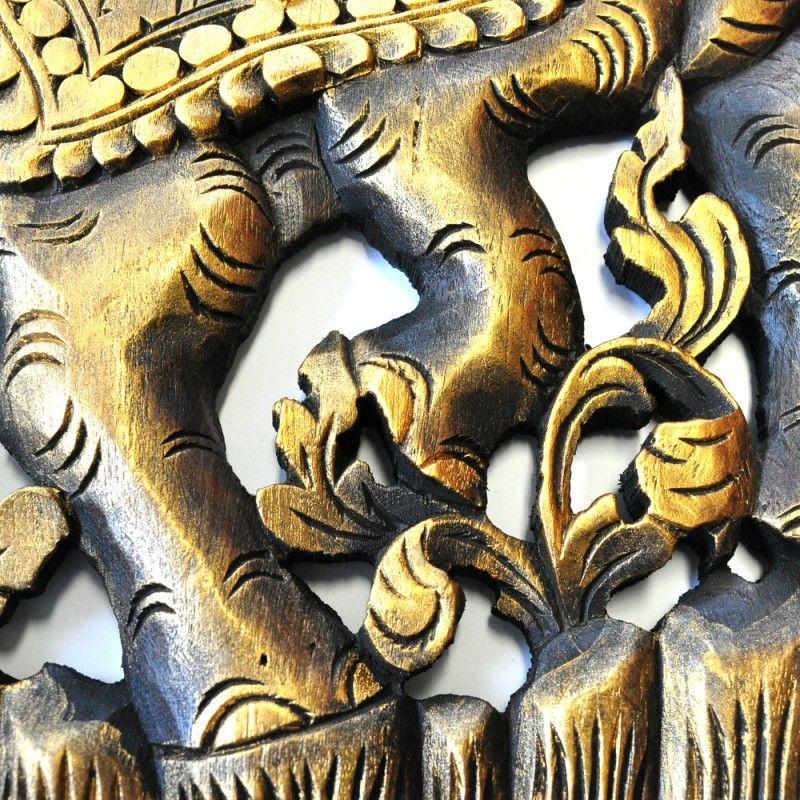 relief wandbild wandbildrelief teak holz 1 paar braun gold 91x35cm teak holz wandbilder und. Black Bedroom Furniture Sets. Home Design Ideas