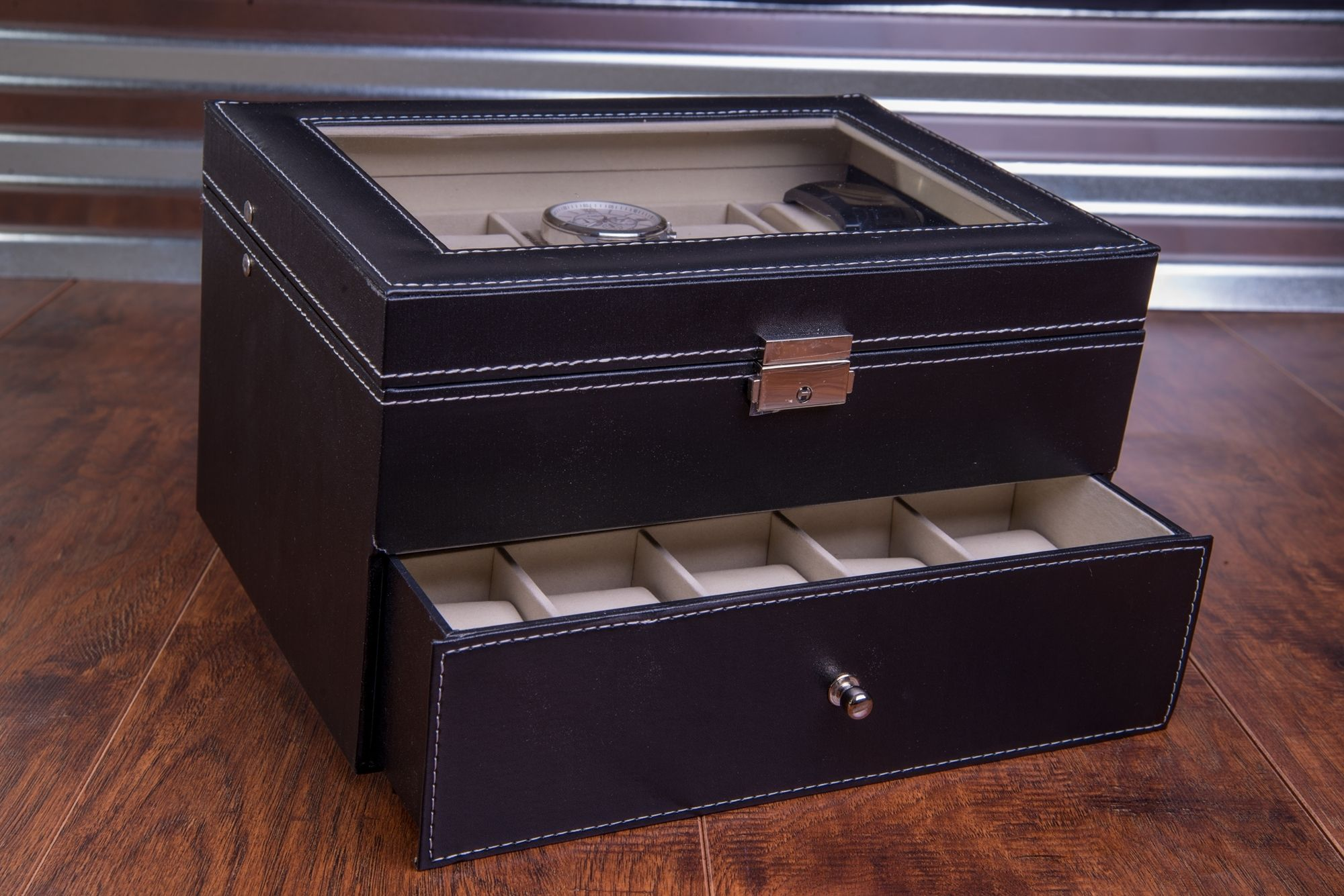 Extra Large 20 Piece Personalized Watch Box Leatherette
