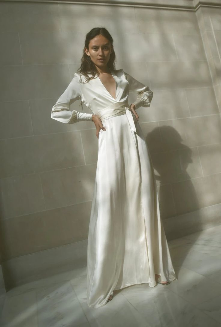 Ivory Wedding Dress With Sleeves Maxi Wrap Dress Silk Wedding Dress Dresses [ 1089 x 736 Pixel ]