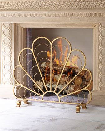 italian gold iron shell decorative fireplace screen decorative