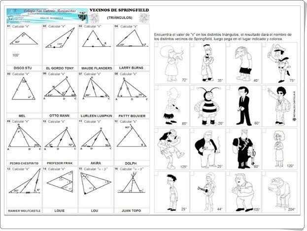 Los Simpson Cálculo Del Valor De ángulos En Un Triángulo Angulos Matematicas Triangulos Actiludis