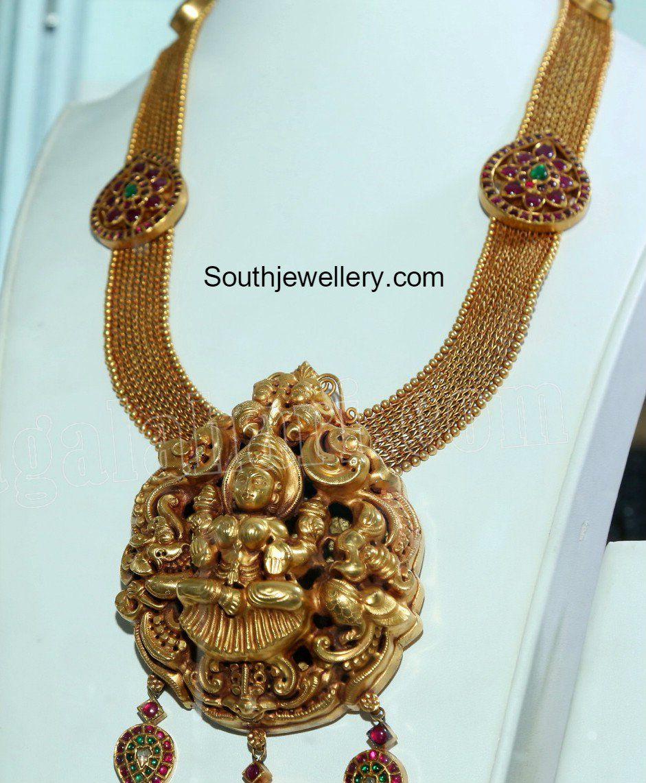 Antique gold haram with lakshmi pendant photo antiquejewellery antique gold haram with lakshmi pendant photo aloadofball Image collections