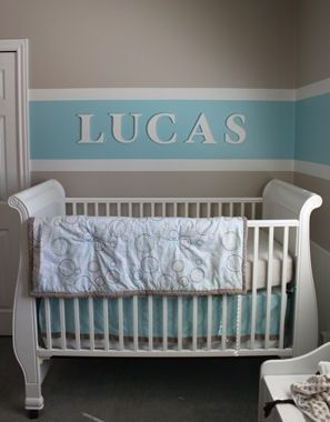 Baby Boy Nursery Room Decorated With Blue Brown And Cream White Horizontal Wall Paint Stripes Painting Technique