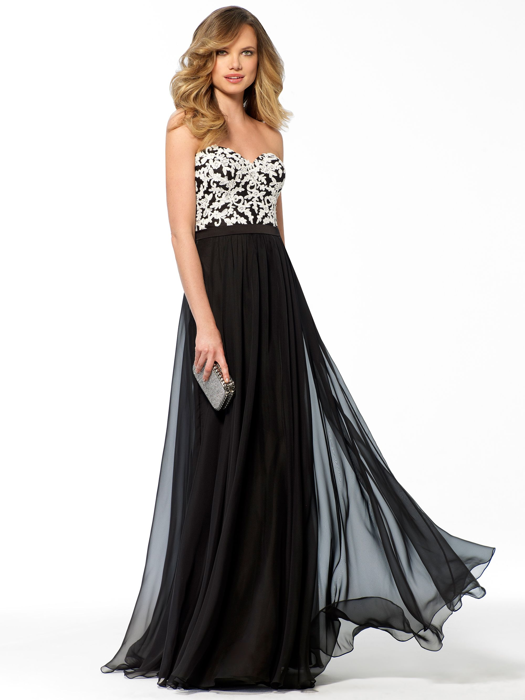 Black dress gown - Flowy And Fabulous Black And White Lace Bustier Dress