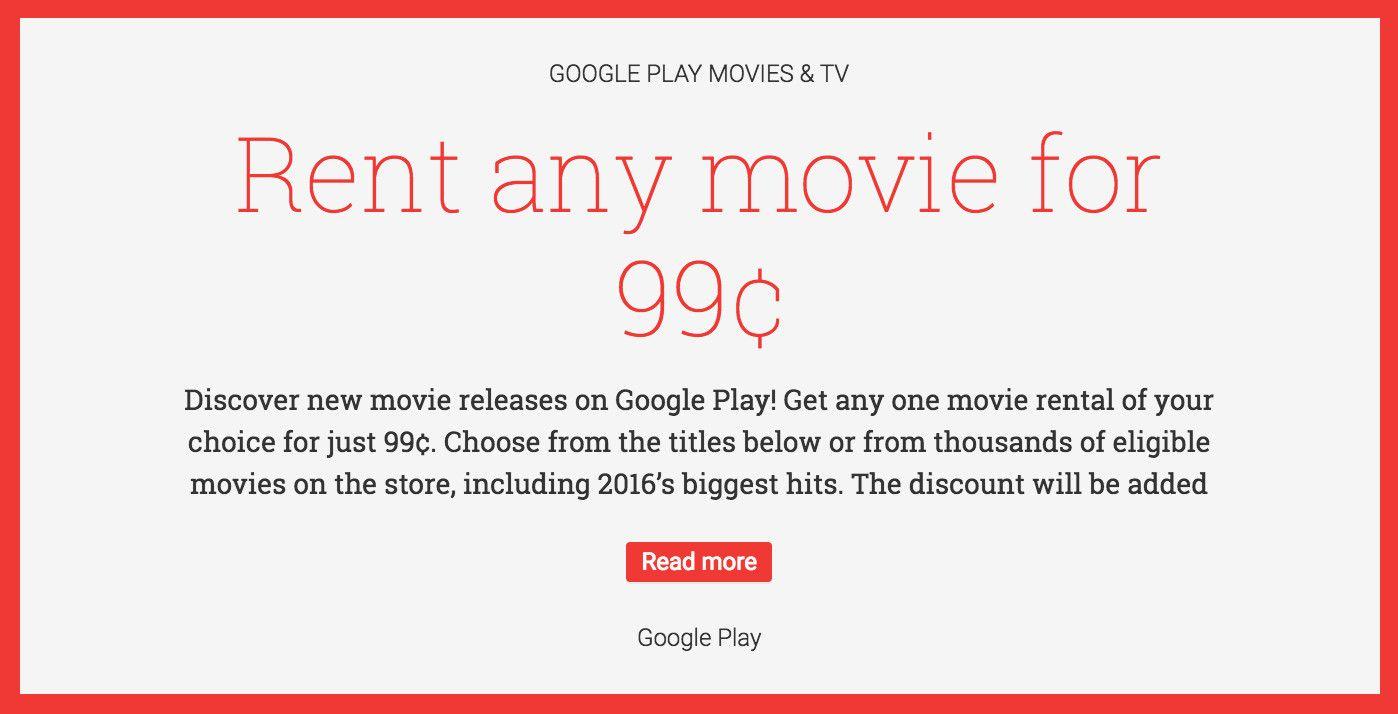 Google Play Movies & TV Deals: Rent Any Movie for 99 HOT http://www.lavahotdeals.com/ca/cheap/google-play-movies-tv-deals-rent-movie-99c/156974?utm_source=pinterest&utm_medium=rss&utm_campaign=at_lavahotdeals