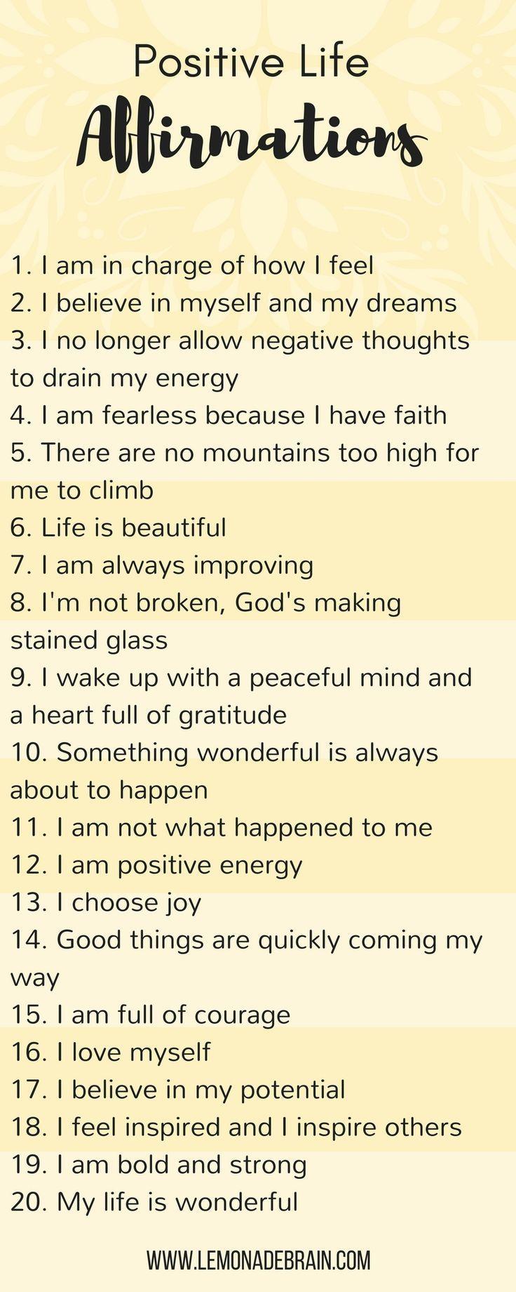 Positive life affirmations