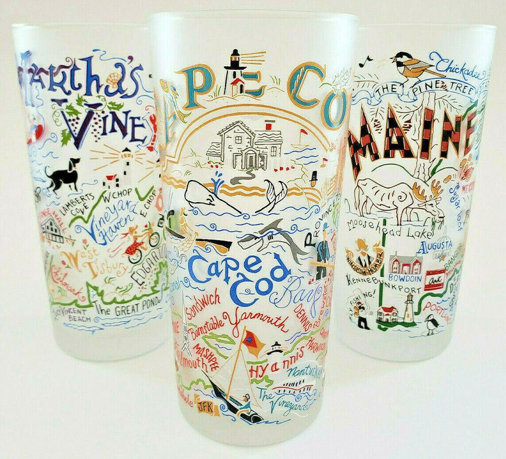 2004 Catstudio Maine Martha S Vineyard Cape Cod Frosted Drinking Glasses 15 Oz Catstudio Glasses Drinking Catstudio Cape Cod