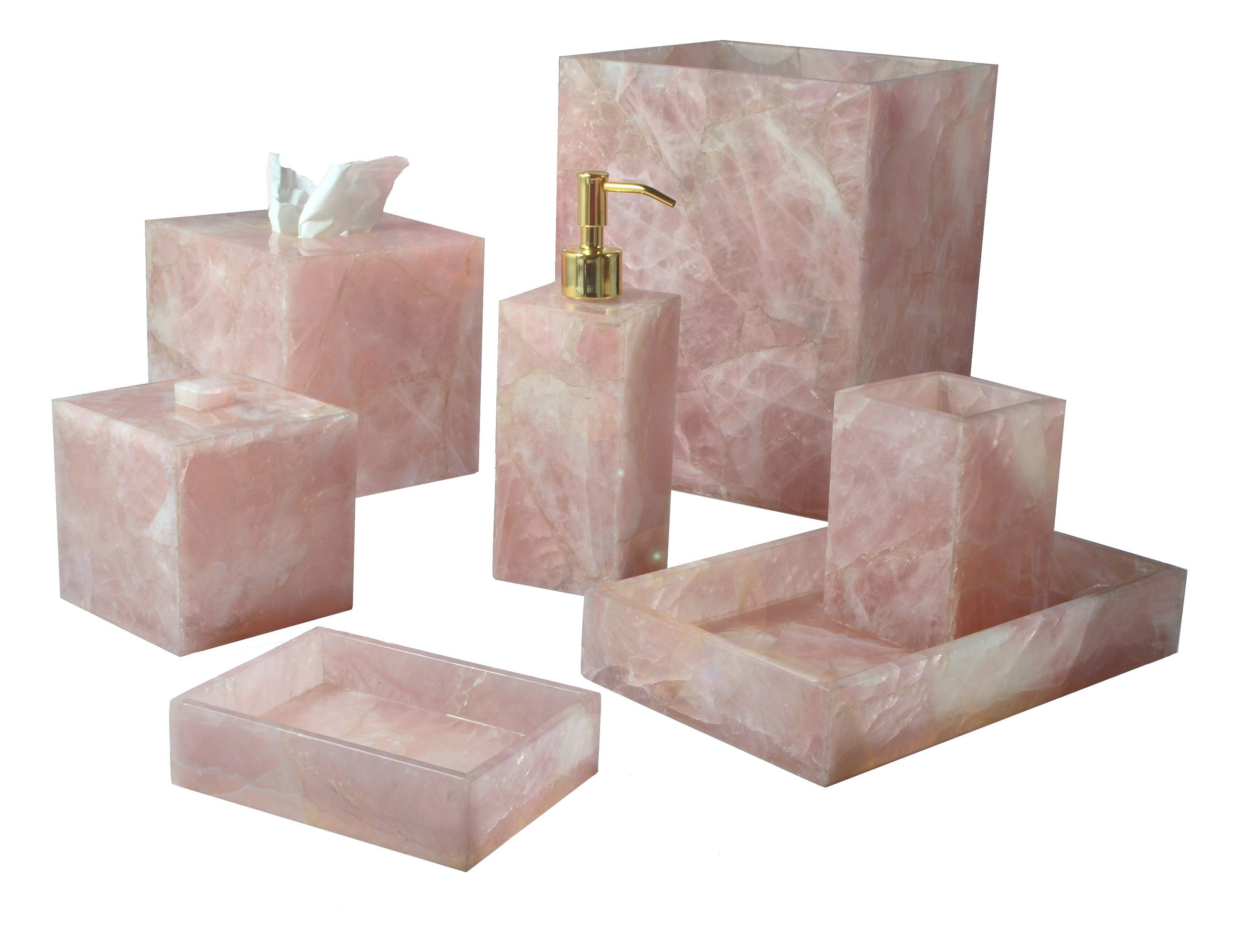 Mike And Ally Taj Premium Gemstone Bath Accessories Rose Quartz
