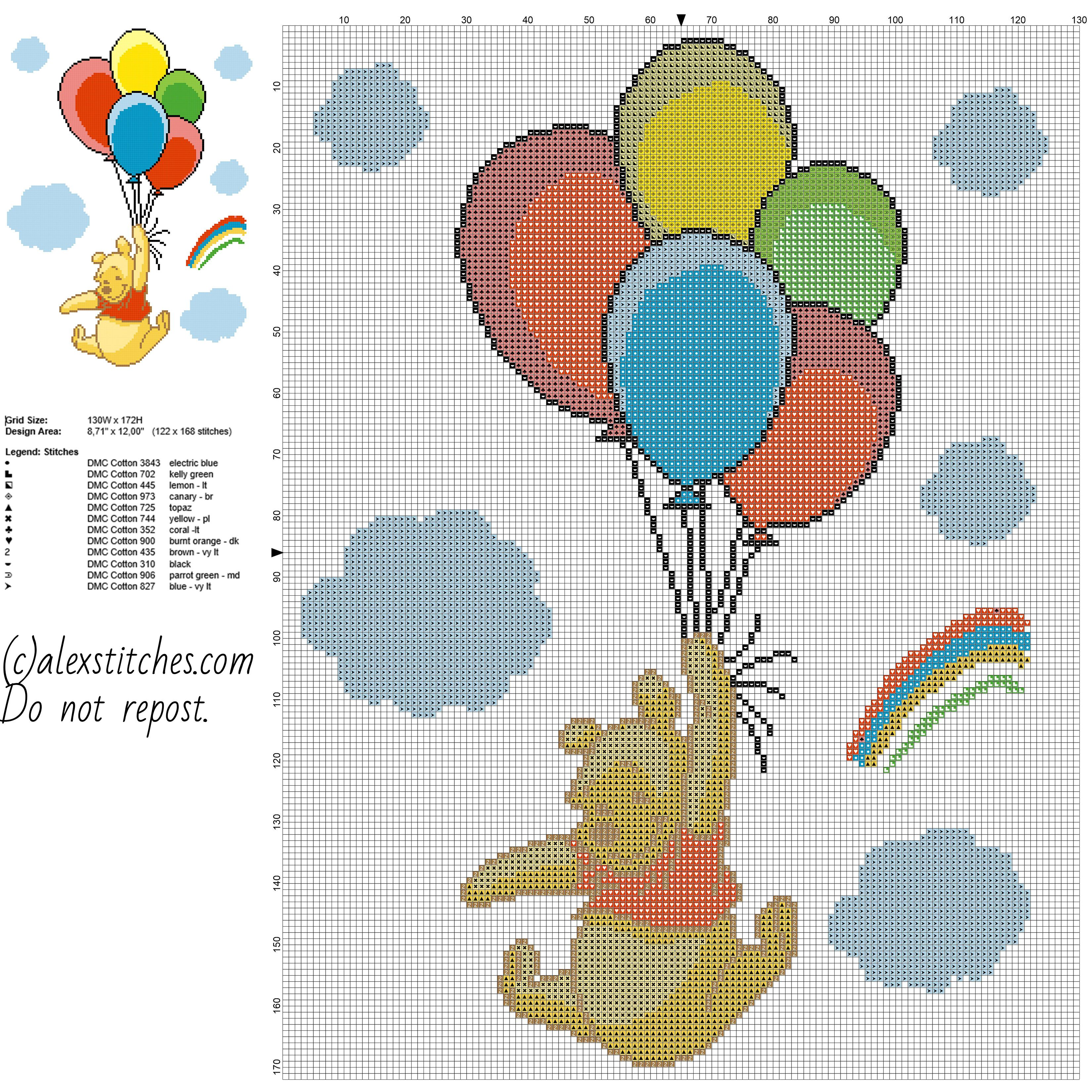Winnie The Pooh with colored balloons free cross stitch pattern baby ...