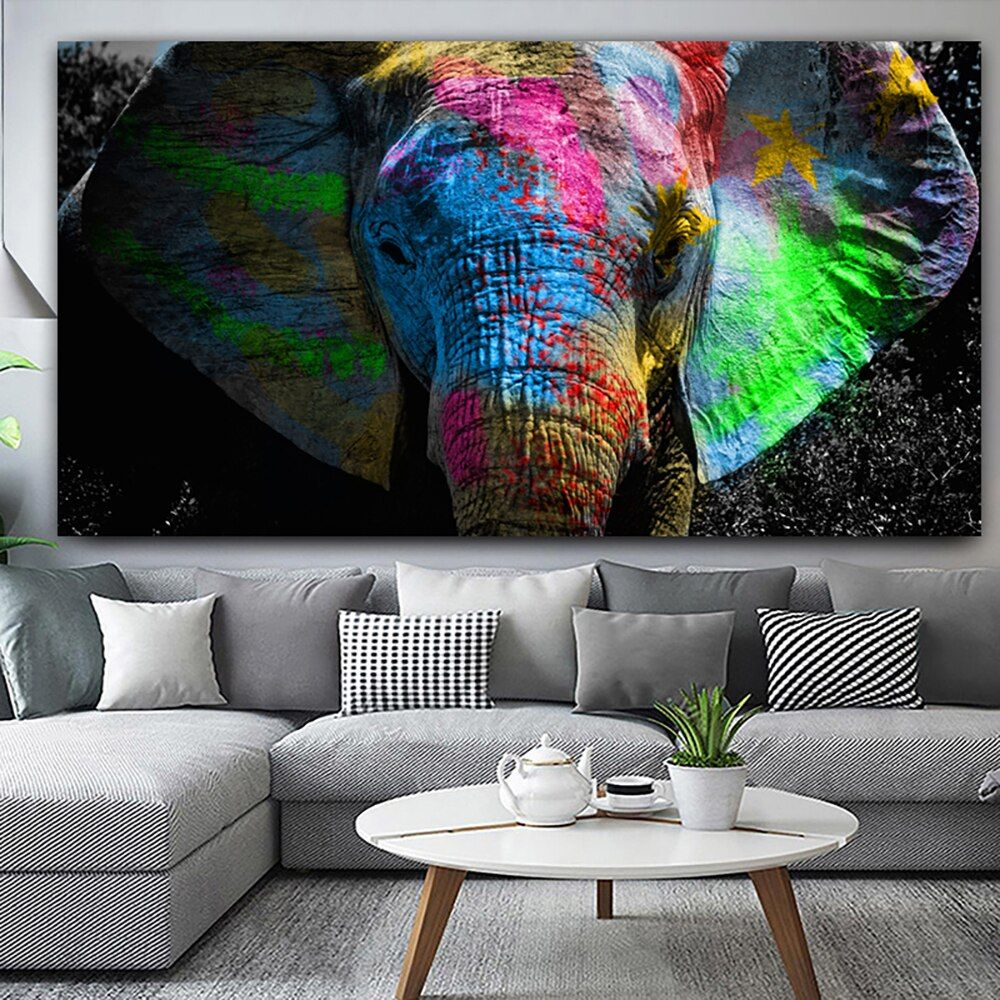 Wall Art Poster Modular Pictures Nordic Style Colorful African Elephant Animal Canvas Painting For Kids Room Home Decor Printing Wall Art Canvas Painting Elephant Painting Canvas Animal Canvas Paintings