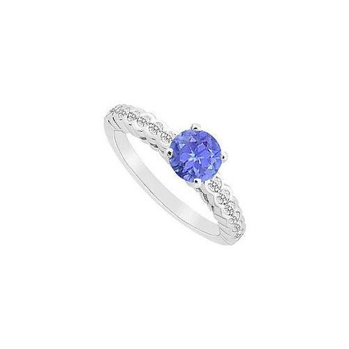 Tanzanite and Diamond Engagement Ring : 14K White Gold - 0.75 CT TGW