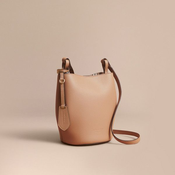 1656de3d92be Burberry Leather and Haymarket Check Crossbody Bucket Bag ( 940) ❤ liked on Polyvore  featuring bags