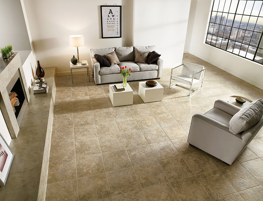 Armstrong luxury vinyl tile flooring lvt tan tile for Tile floor designs for living rooms