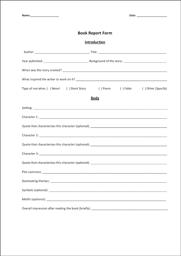 book review template middle school