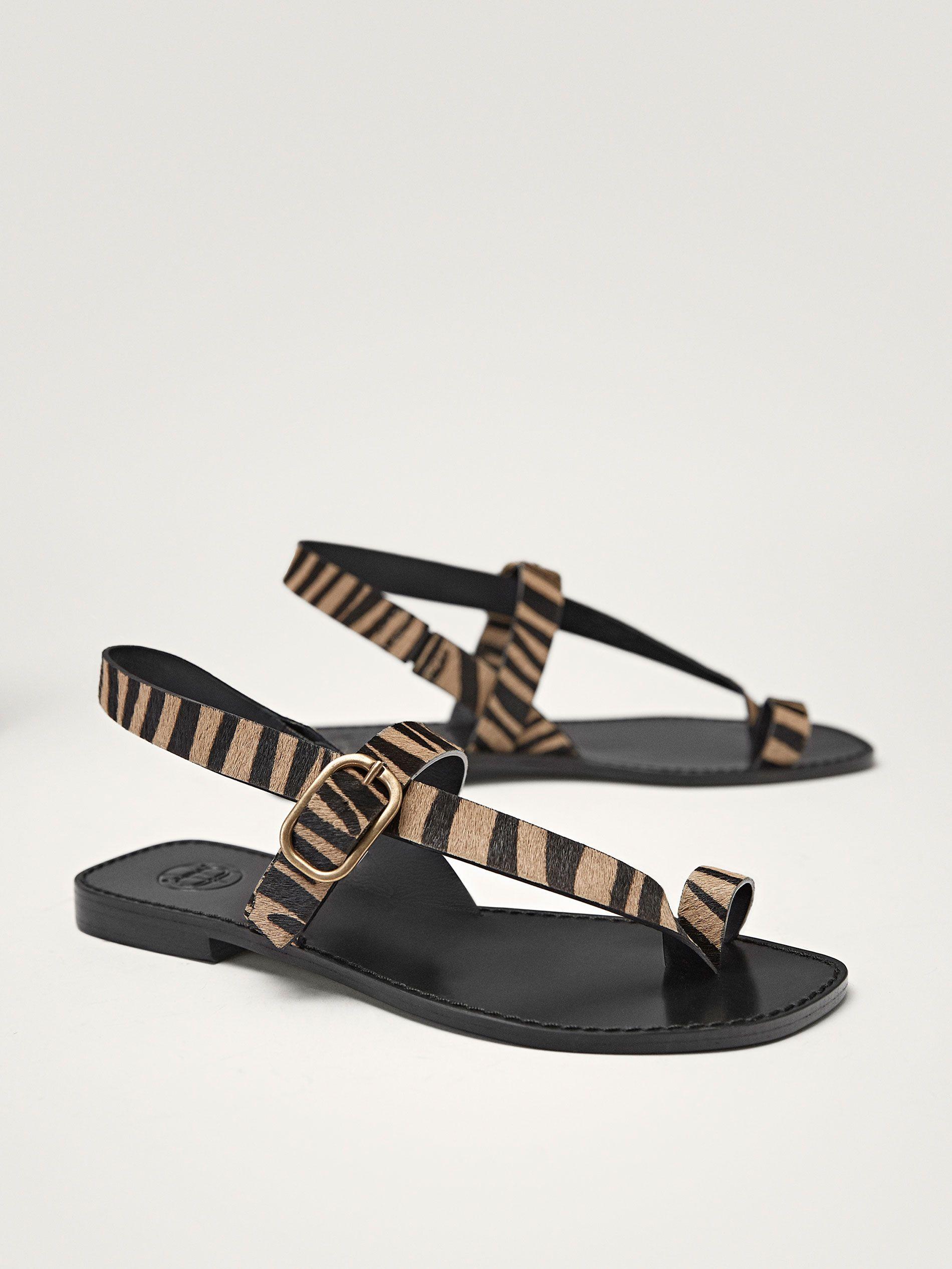 Zebra Desenli Deri Sandalet Kadin Massimo Dutti Bayan Ayakkabi Sandalet Siyah Sandalet