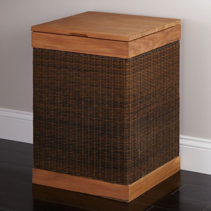 Hinged Lid Teak Clothes Hamper With Liner With Images Wooden
